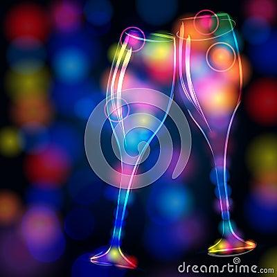 Elegant, glittering champagne glasses