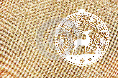 Elegant Gold Christmas background with white Christmas Ornaments