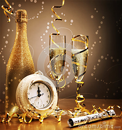 Free Elegant Gold New Year Still Life Royalty Free Stock Image - 47271126