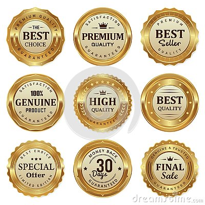 Elegant gold seal labels quality product Vector Illustration