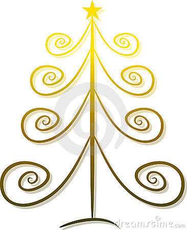 Elegant golden christmas tree