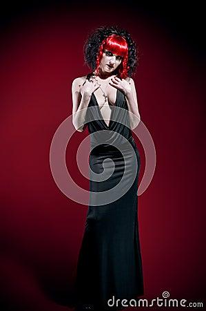 Elegant gothic woman in studio