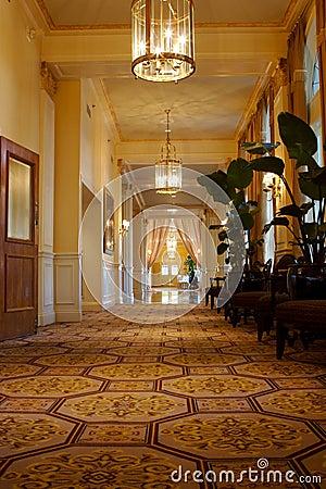 Elegant hallway in an upscale hotel