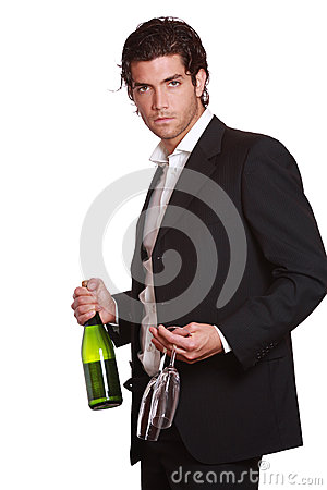 Elegant handsome man with wine bottle