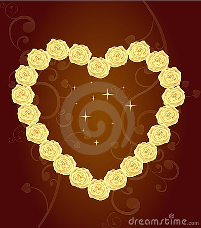 Elegant Heart of golden roses