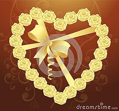 Elegant Heart of roses and ribbon