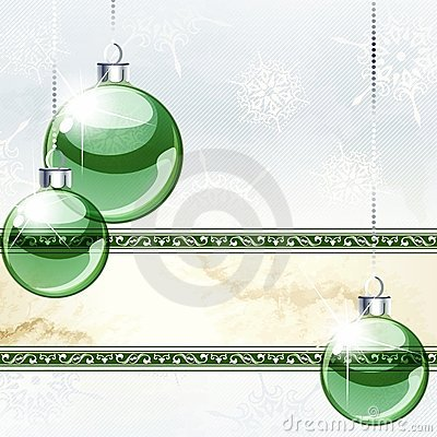 Elegant holiday banner with transparent ornaments