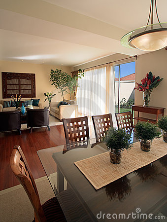 Elegant home: Living room with dining area