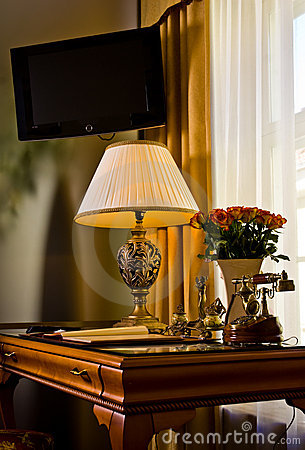 Elegant hotel suite desk
