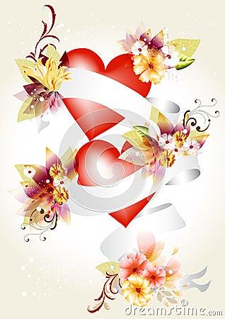 Elegant illustration  with hearts