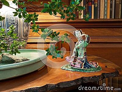 Elegant interior with japanase porcelain figure
