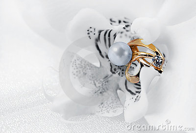 Elegant jewelry ring and orchid