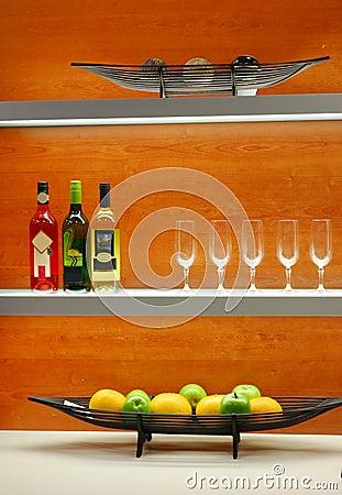 Elegant kitchen decoration on shelf
