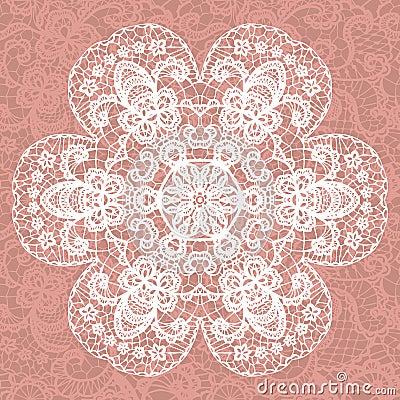 Elegant lacy doily. Vector snowflake.