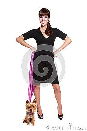 Elegant lady with cute little dog