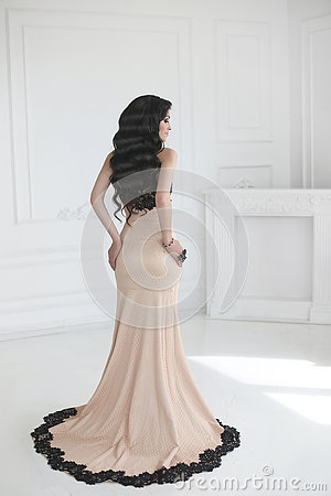 Free Elegant Lady In Dress. Beautiful Fashion Brunette Woman In Prom Stock Photography - 75308192