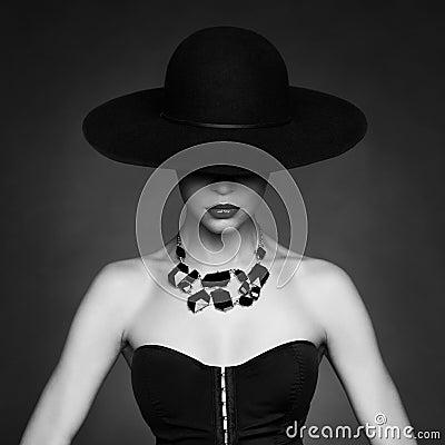 Free Elegant Lady In Hat Stock Image - 48036621