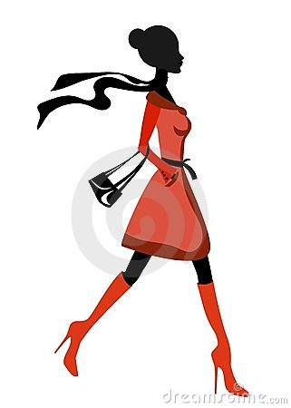 Elegant Lady Silhouette Walking