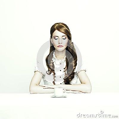 Elegant lady at table