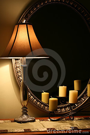 Elegant Lamp and Mirror