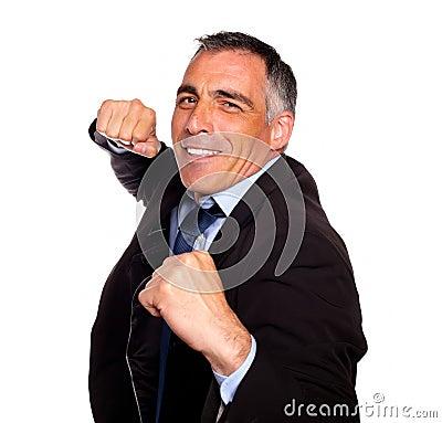Elegant latin broker man boxing