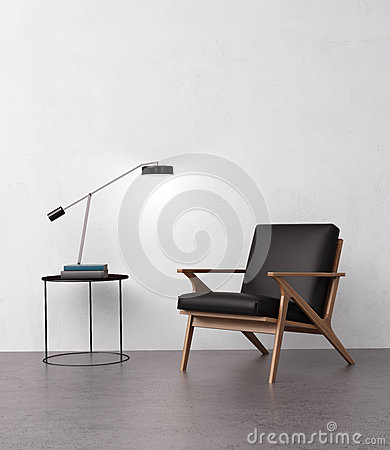Free Elegant Leather Armchair With A Side Table Royalty Free Stock Images - 60925609