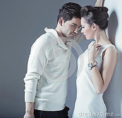 Elegant man trying to seduce a woman