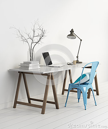 Free Elegant Minimal White Home Office With Blue Chair Stock Photography - 52285342