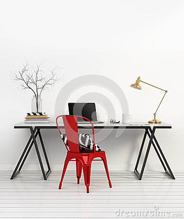 Free Elegant Minimal White Home Office With Red Chair Royalty Free Stock Photography - 52508867