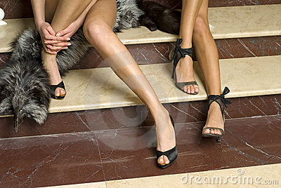 Elegant models legs with fashion shoes
