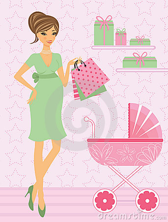 Elegant mom-to-be shopping for her upcoming baby