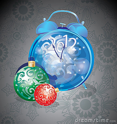 Elegant New Year clock and decorations