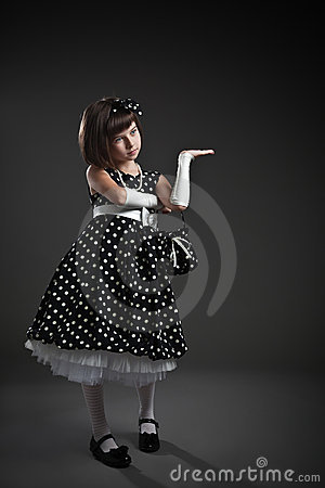Elegant old-fashioned dressed little girl