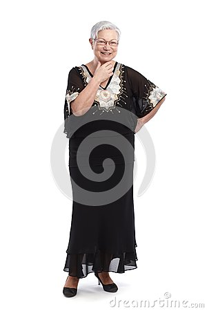 Elegant old lady in evening gown smiling
