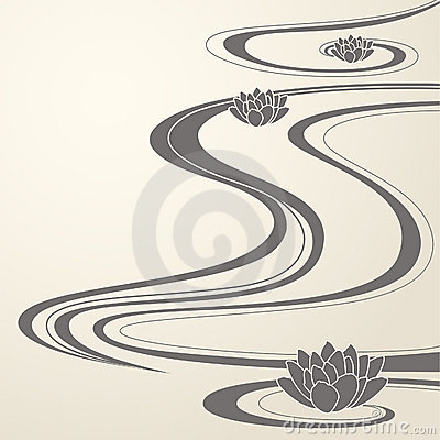 Free Elegant Oriental Waves And Lotuses Background Royalty Free Stock Photos - 12810788