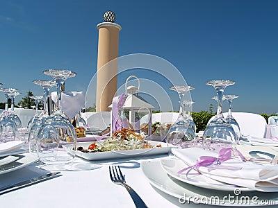 Elegant outdoor table setting
