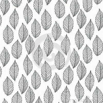 Elegant Pattern With Leafs Drawn In Thin Lines Royalty Free Stock Image Image 33884016