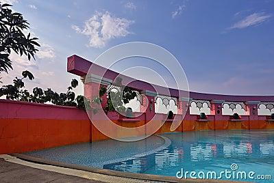 Elegant pool on a  sunset