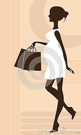 Elegant pregnant woman silhouette