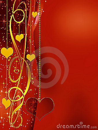 Elegant  red background with hearts and stars