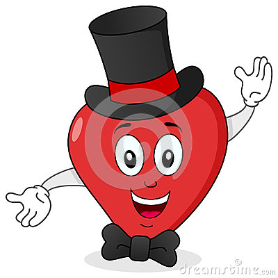 Elegant Red Heart with Top Hat & Bow Tie