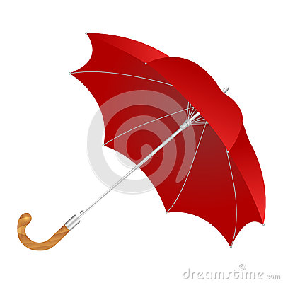 elegant red umbrella isolated on white background. Cartoon Illustration