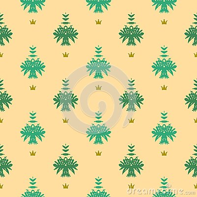 Elegant rich vector pattern with damask motif