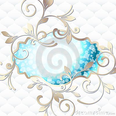 Elegant rococo emblem in vibrant blue on white