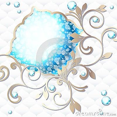 Elegant rococo emblem in vibrant blue on white