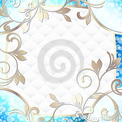 Elegant rococo frame in vibrant blue on white