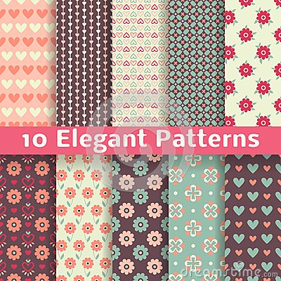 Elegant romantic vector seamless patterns