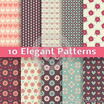 Elegant romantic vector seamless patterns