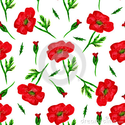 Free Elegant Seamless Pattern With Watercolor Painted Red Poppy Flowers, Design Elements. Floral Pattern For Wedding Invitations, Greet Royalty Free Stock Images - 52971849