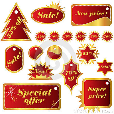 Elegant set of red winter sales tags